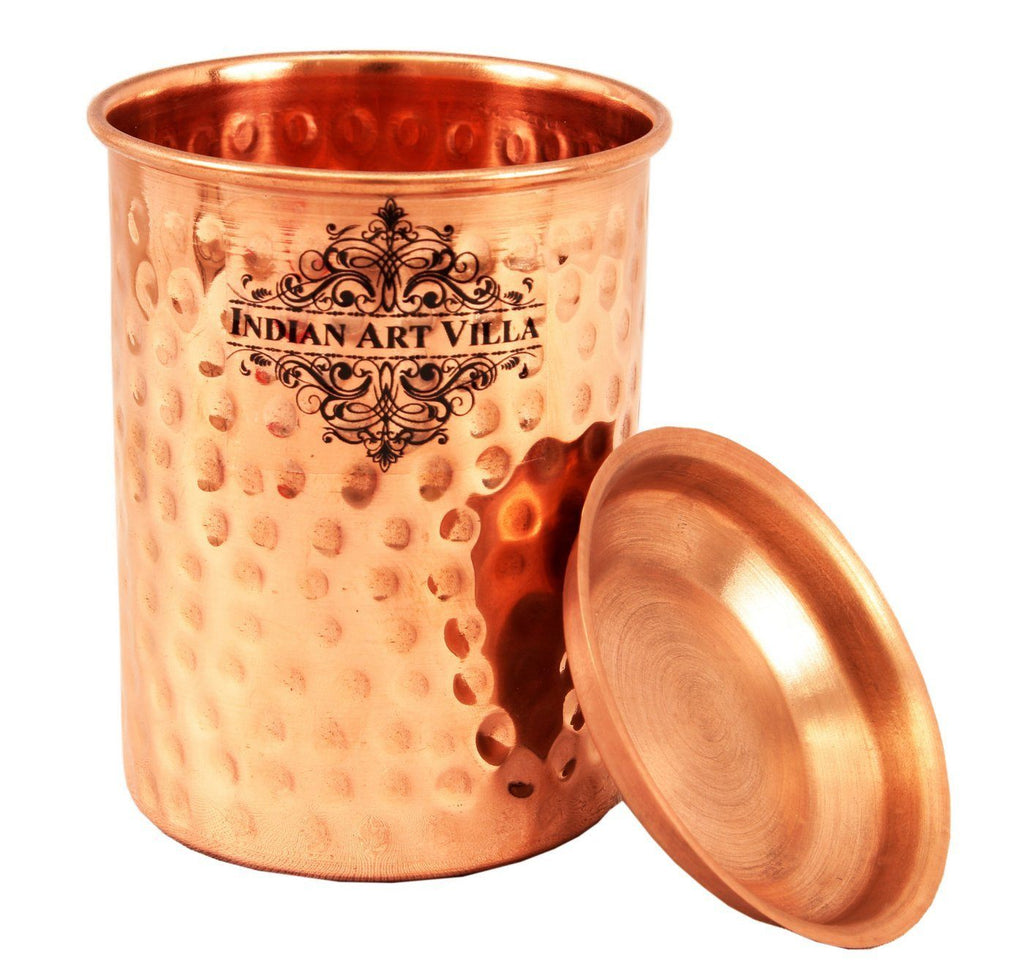 Copper Small Hammered Glass Tumbler Cup with Lid | 250 ML Copper Ware Drink Ware Combo Indian Art Villa