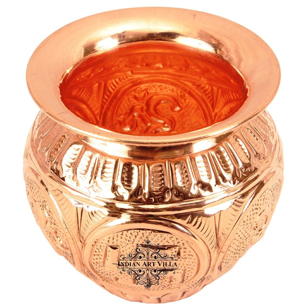 Copper Swastik Design Kalash Lota|Poojan Temple Home Copper Lota CC-18
