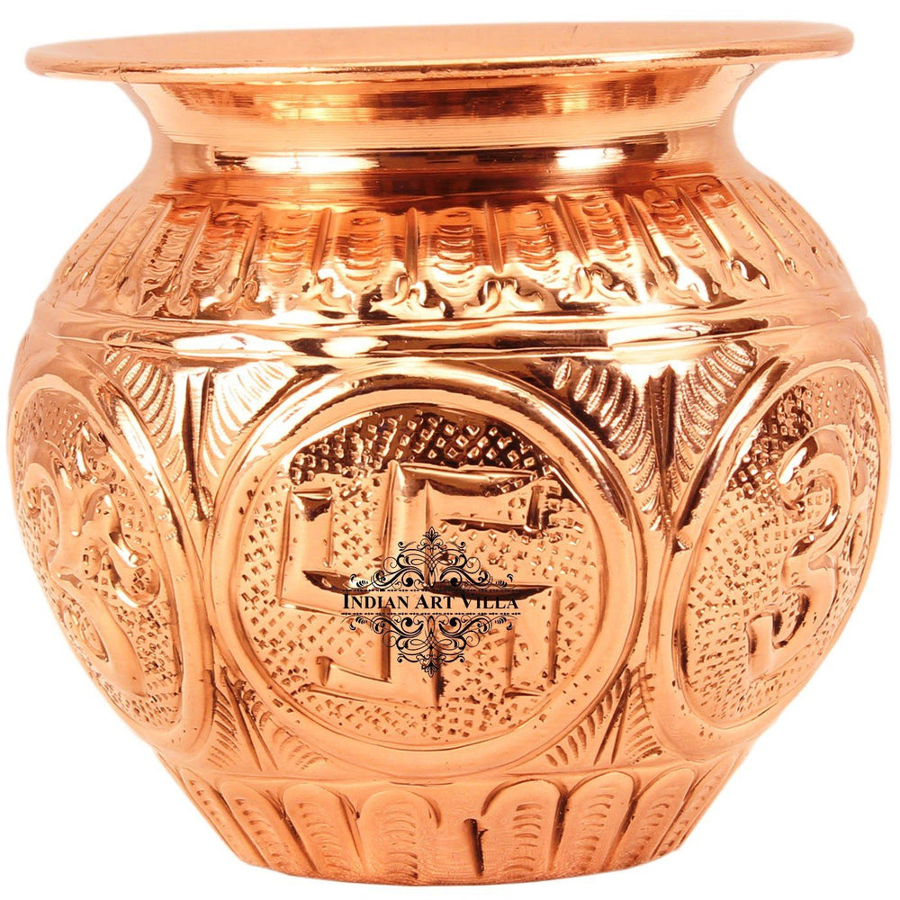 Copper Swastik Design Kalash Lota|Poojan Temple Home Copper Lota CC-18 Big