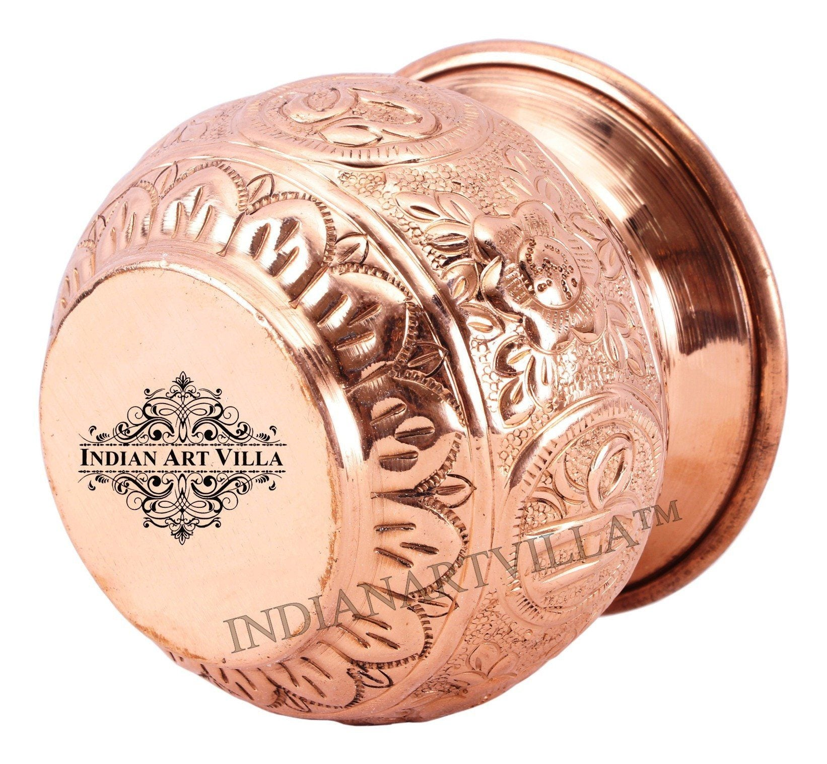 Copper Swastik Design Round Lota Kalash 11 Oz