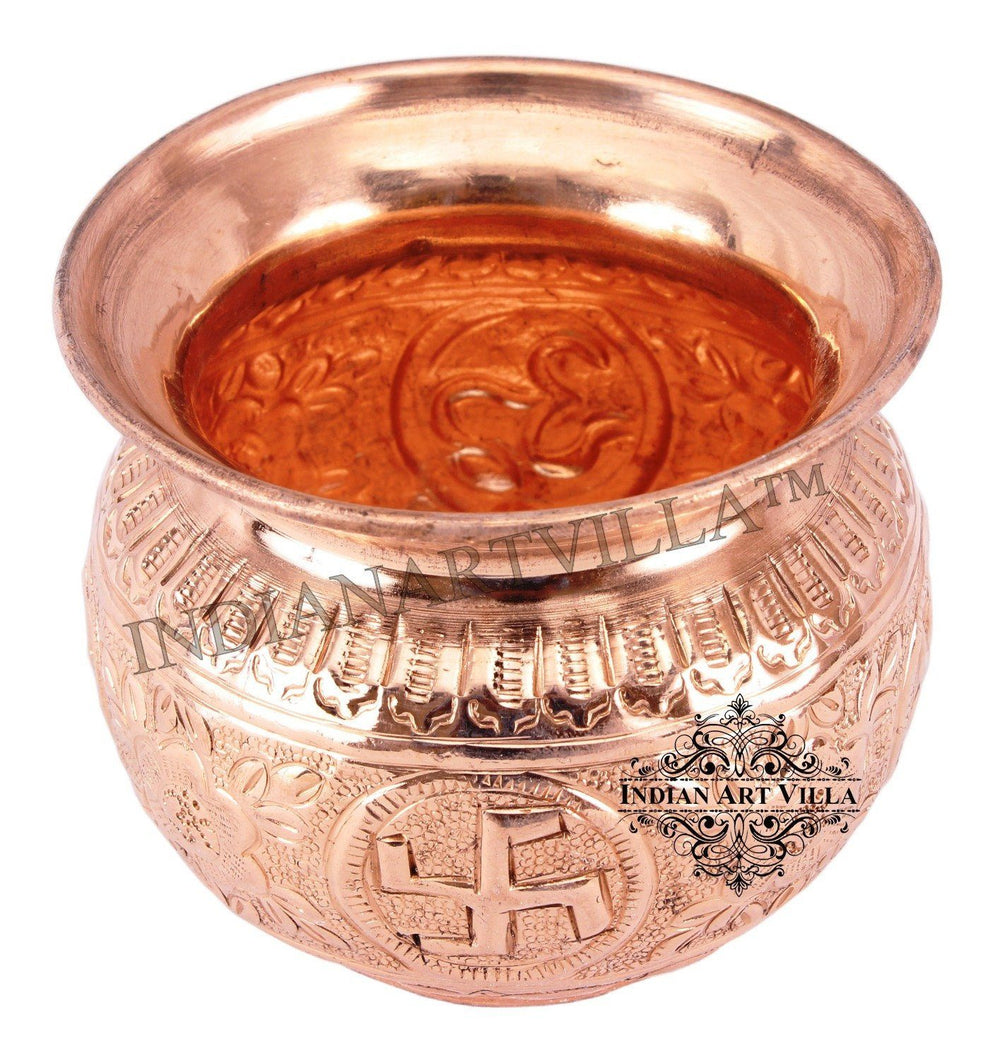 Copper Swastik Design Round Lota Kalash 11 Oz Copper Lota Indian Art Villa