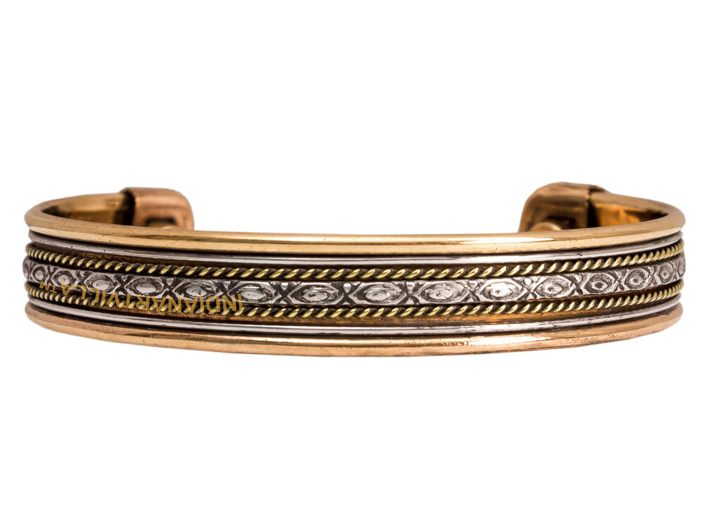 Copper Traditional Design Kada Bracelete With Magnet- 2 cms