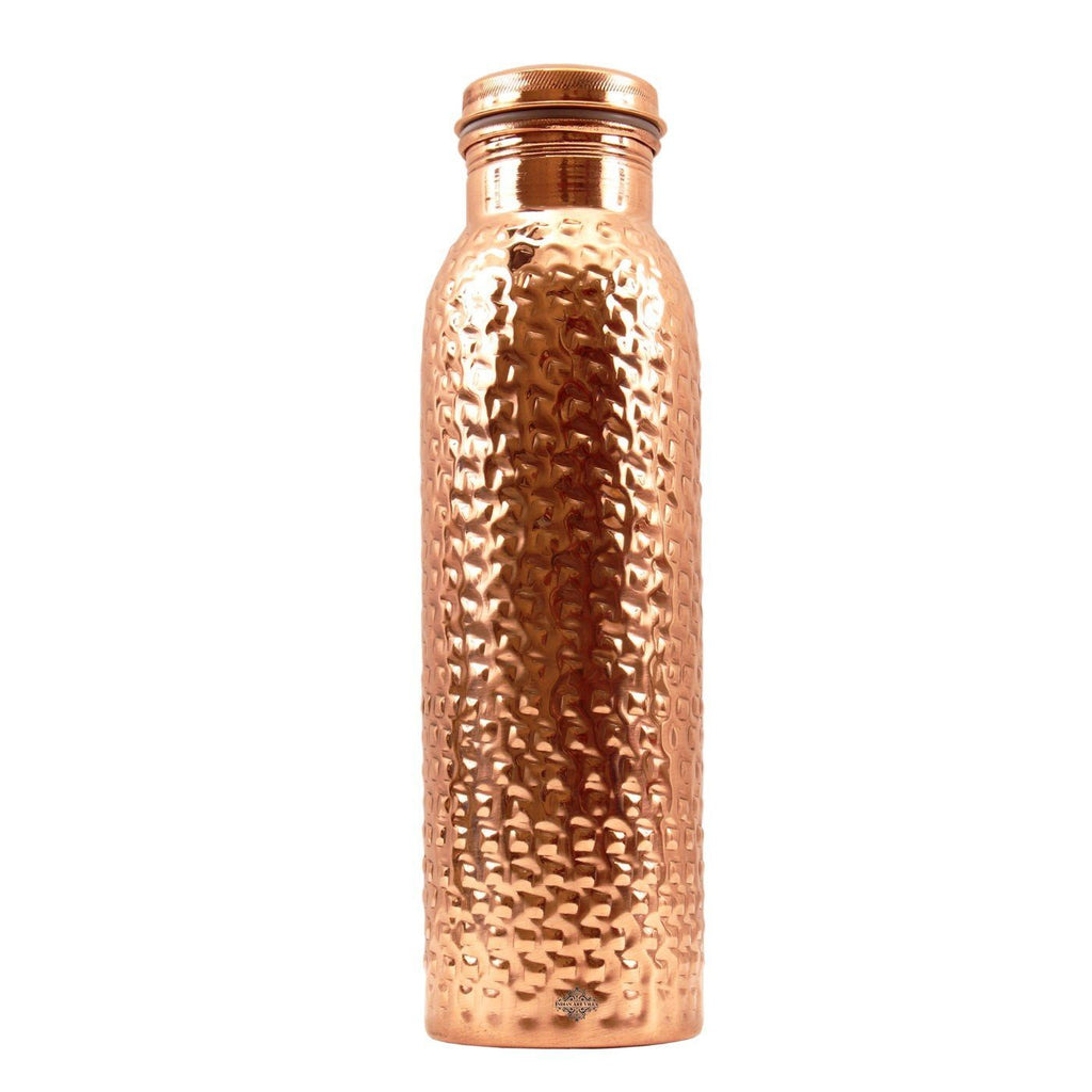 Copper Water Bottle Square Design Leak Proof Bottles Indian Art Villa