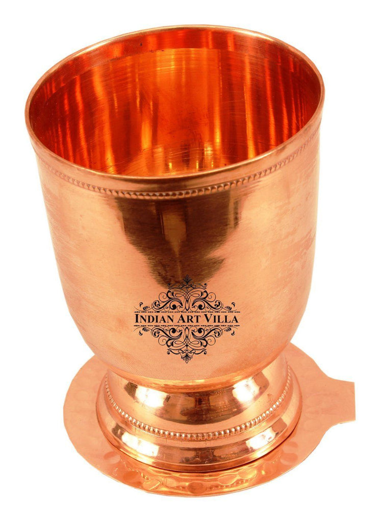 Copper Wine Glass Tumbler with Bottom Coaster | 450 ML Copper Ware Drink Ware Combo Indian Art Villa