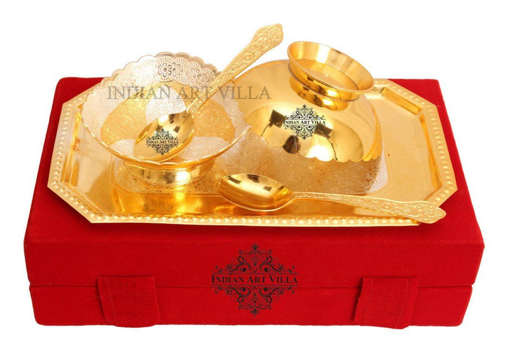 Designer Bowls and Spoons 1 Tray with Gift pack Silver Plated Combo Sets Indian Art Villa