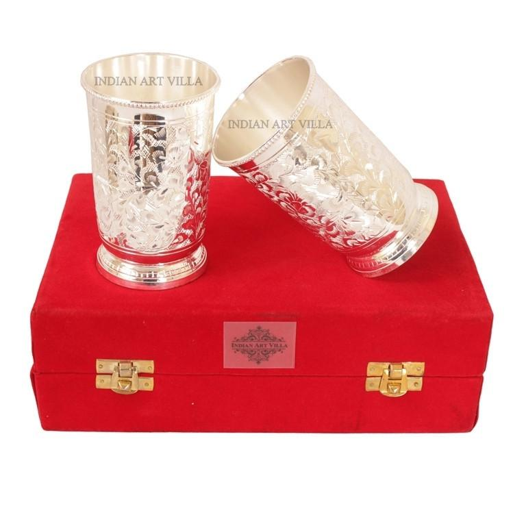 Designer Silver Plated Set of 2 Glass Goblet 6 Oz each Silver Plated Tumblers Indian Art Villa