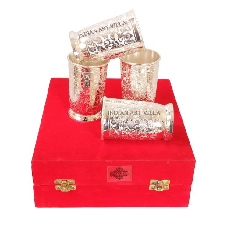 Designer Silver Plated Set of 4 Glass Goblet 6 Oz each Silver Plated Tumblers Indian Art Villa