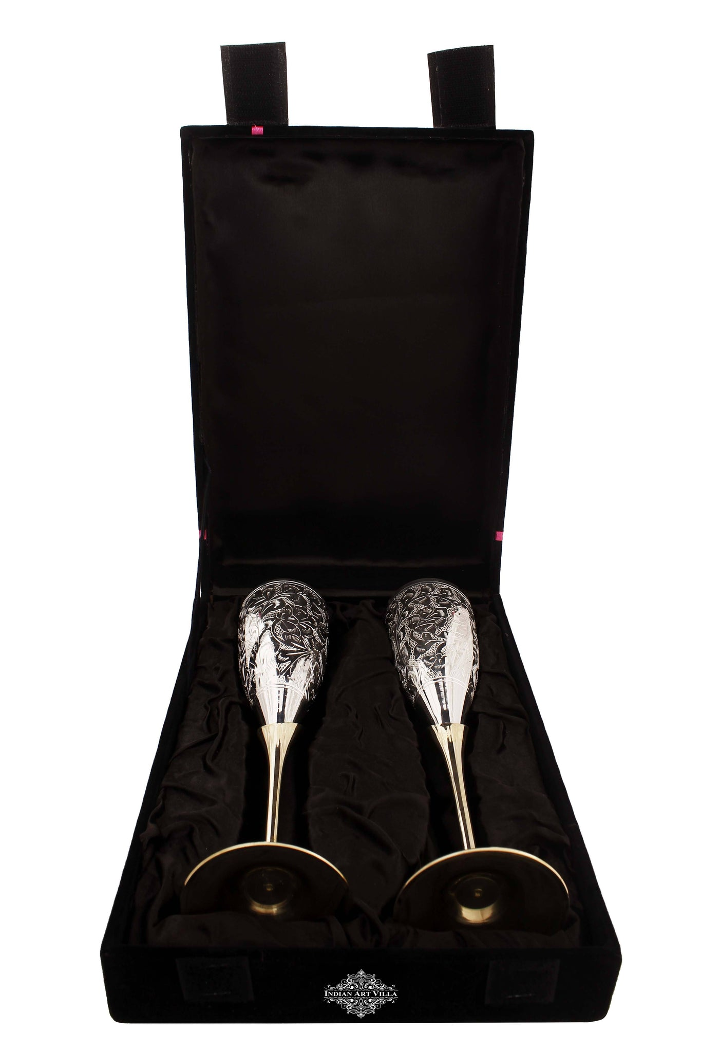 Engraved Silver Plated Brass Champagne Flutes Wine Glass Set