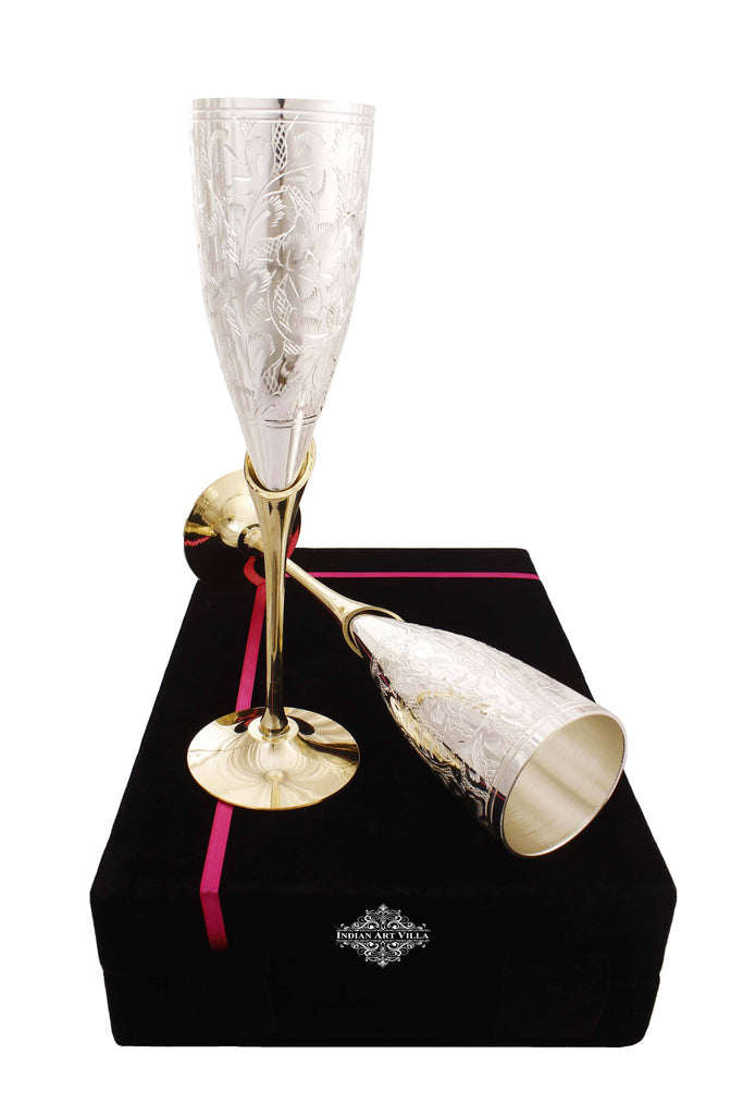 Engraved Silver Plated Brass Champagne Flutes Wine Glass Set Champagne Tumblers Indian Art Villa Black Box