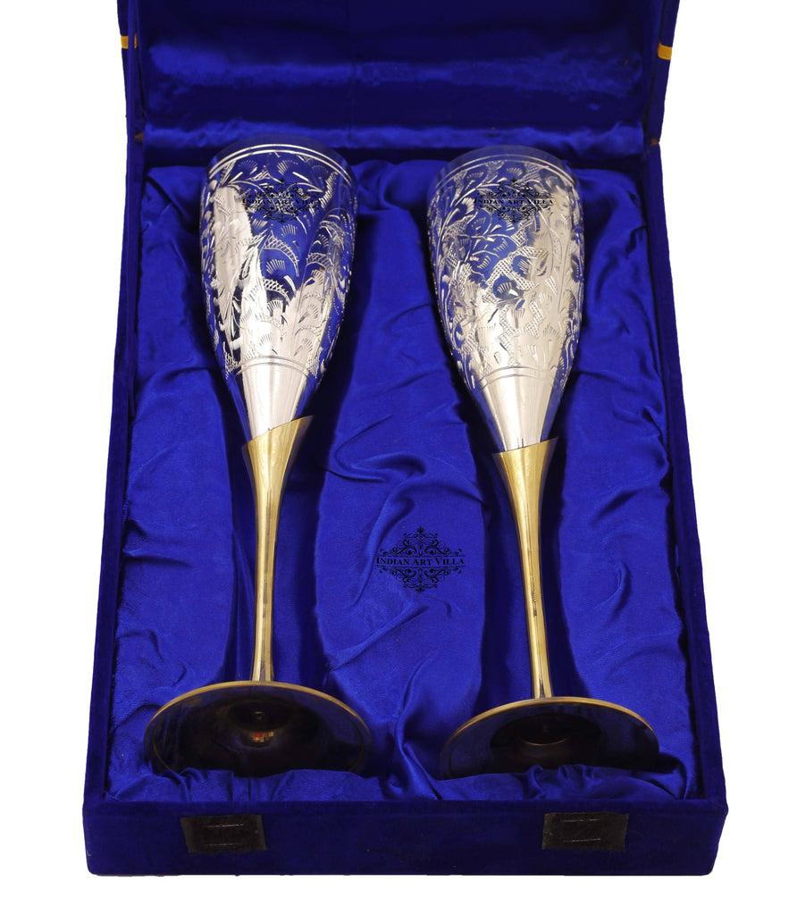 Engraved Silver Plated Brass Champagne Flutes Wine Glass Set Champagne Tumblers Indian Art Villa Blue Box