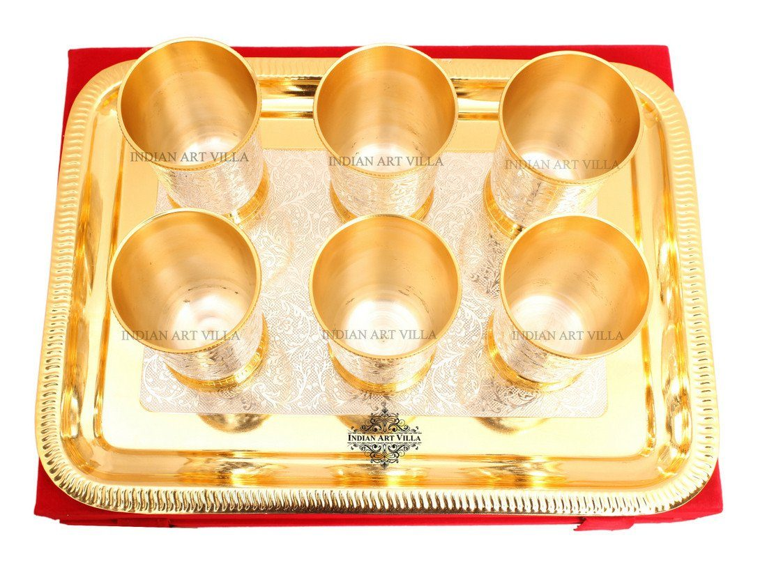 Gold Polish Silver Plated 6 Glass Tumbler Cup 8 Oz