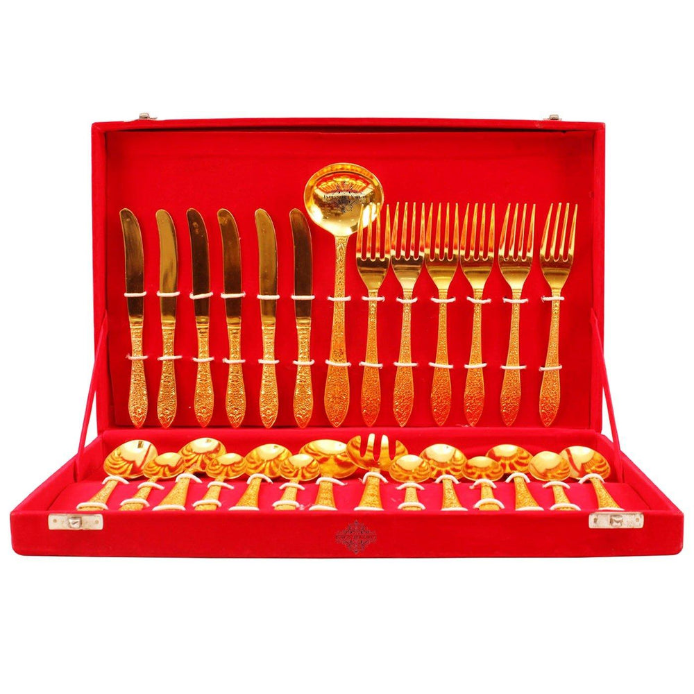 Gold Polished 27 Piece Cutlery Set