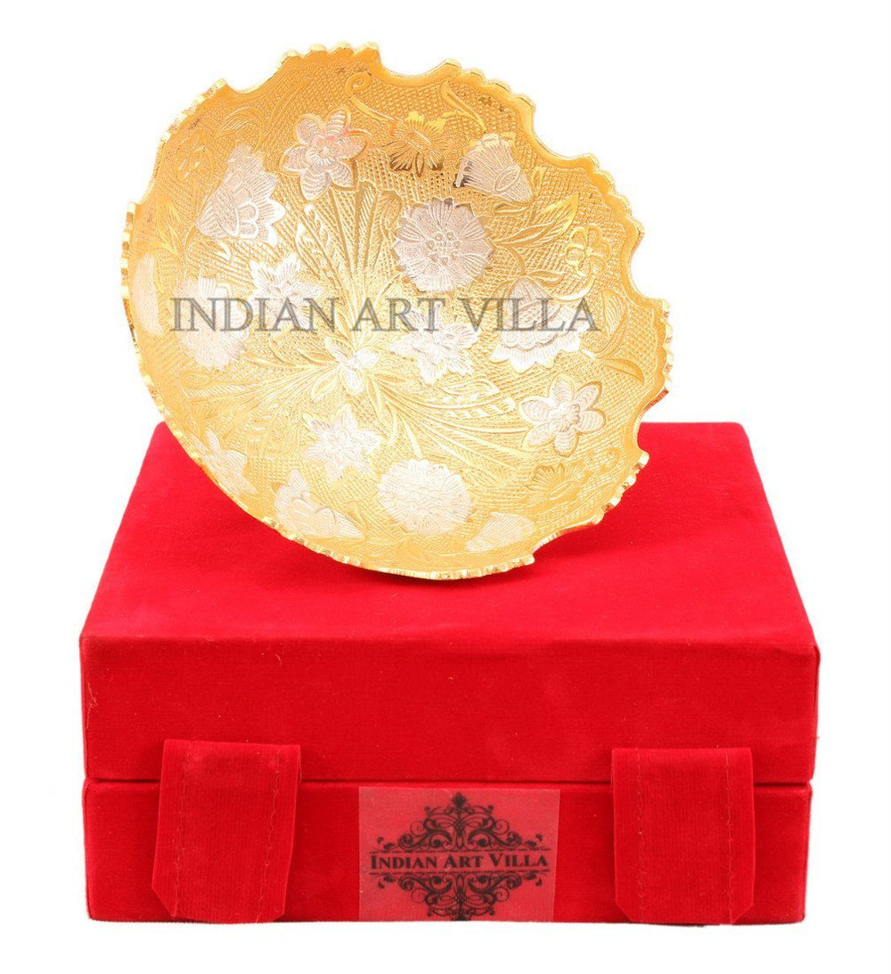 Gold Polished Designer Bowl with Gift Box easy to handle Silver Plated Bowls Indian Art Villa