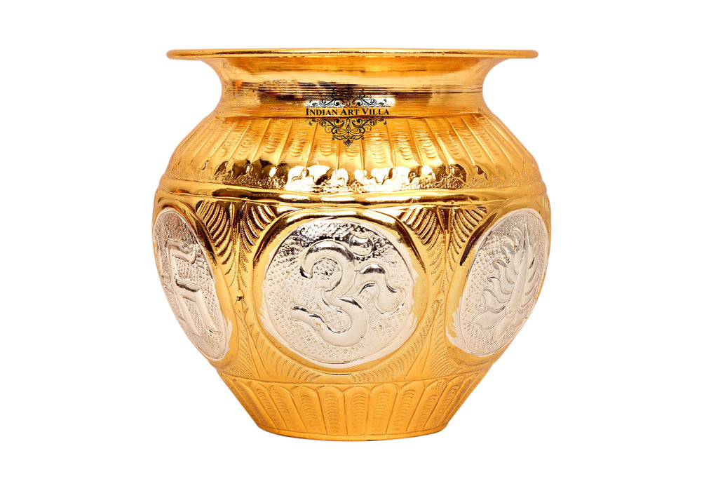 Gold & Silver Polished Copper Swastik Design Lota