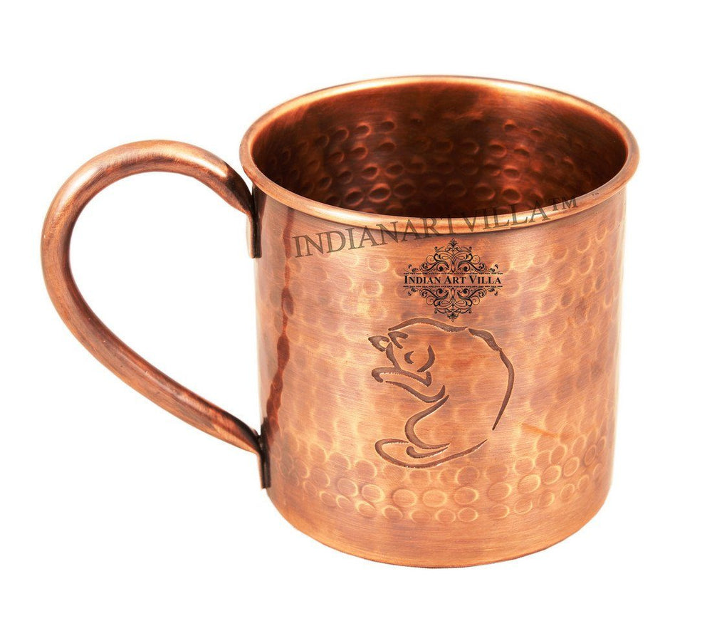 Hammered Pure Copper Sleeping Fox Design Moscow Mule Mug 16 Oz Beer Mugs Indian Art Villa