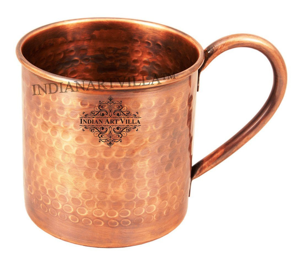Hammered Pure Copper Sleeping Fox Design Moscow Mule Mug 16 Oz