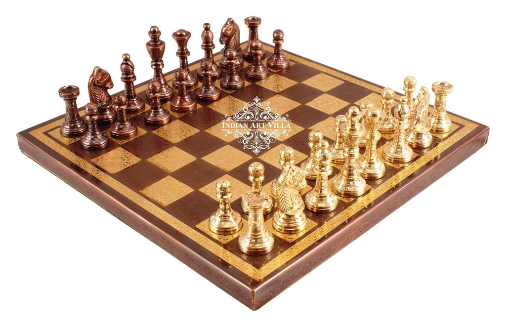 Handcrafted Collectible Brass Chess with Pieces (Brown and Golden) Home Accent Indian Art Villa