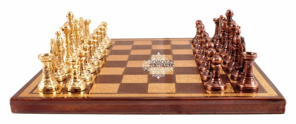 Handcrafted Collectible Brass Chess with Pieces (Brown and Golden)