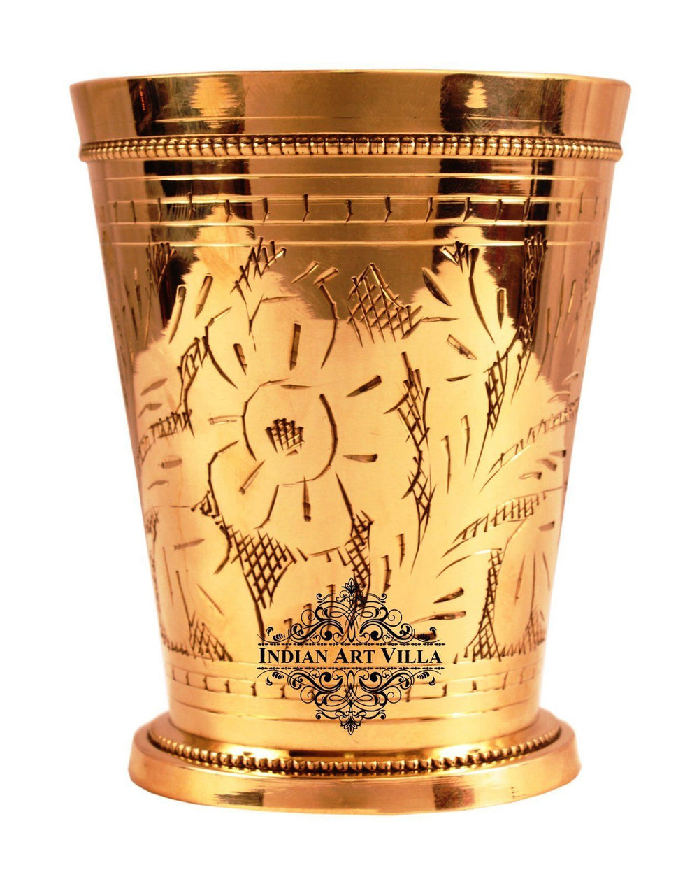 Handmade Brass Flower Design Julep Glass Tumbler Cup 13 Oz Brass Tumblers Indian Art Villa