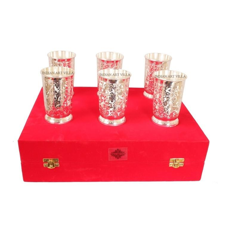 Handmade Designer Silver Plated Set of 6 Glass Goblet 6 Oz each Silver Plated Tumblers Indian Art Villa