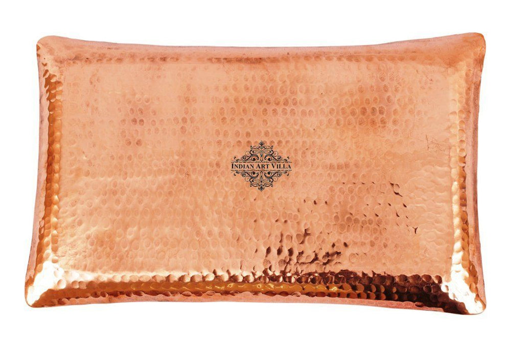 Handmade Hammered Pure Copper Serving Rectangular Tray Tray Indian Art Villa