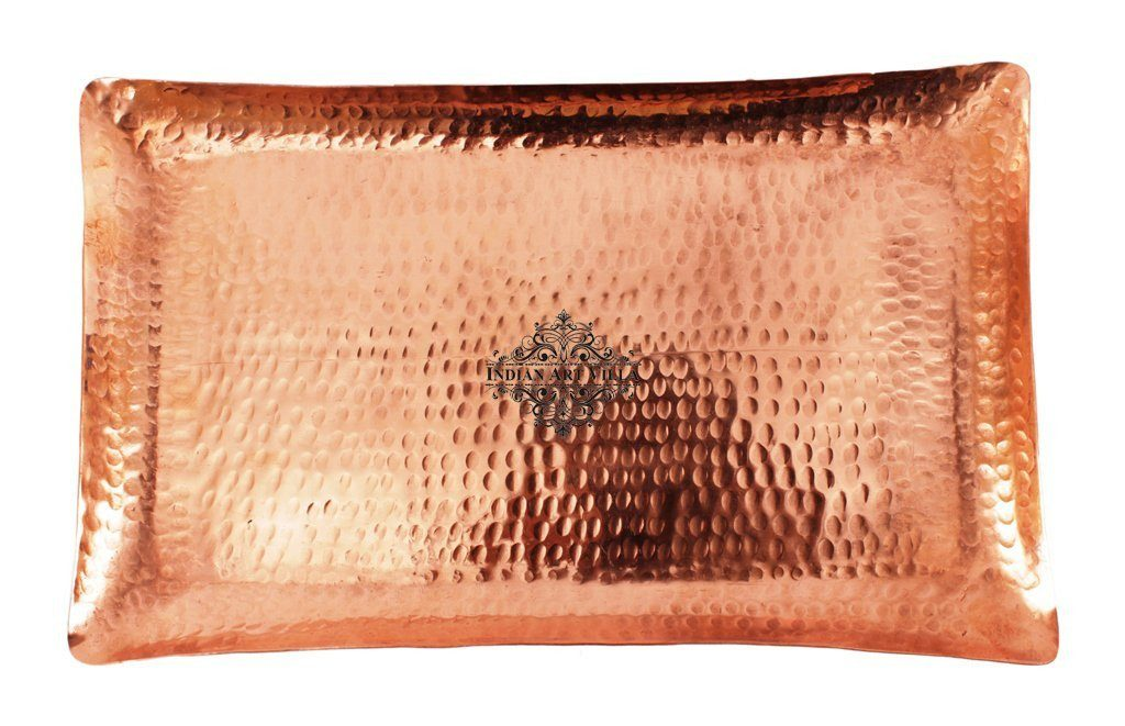 Handmade Hammered Pure Copper Serving Rectangular Tray