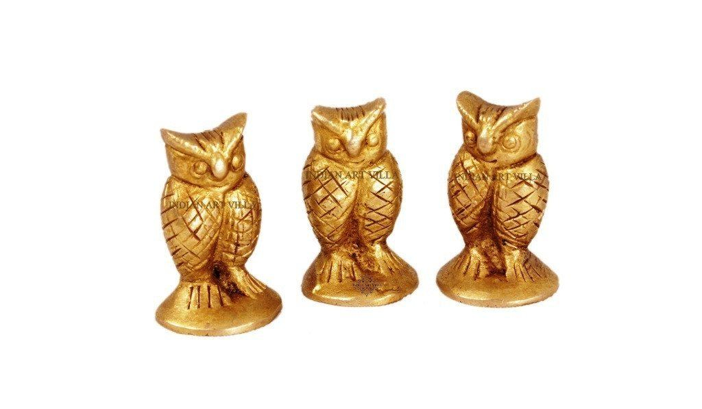 Handmade Old Vintage Collectible Brass Set Of 3 Owls Figurines Home Accent Indian Art Villa
