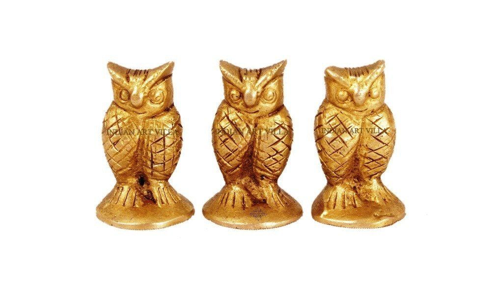 Handmade Old Vintage Collectible Brass Set Of 3 Owls Figurines