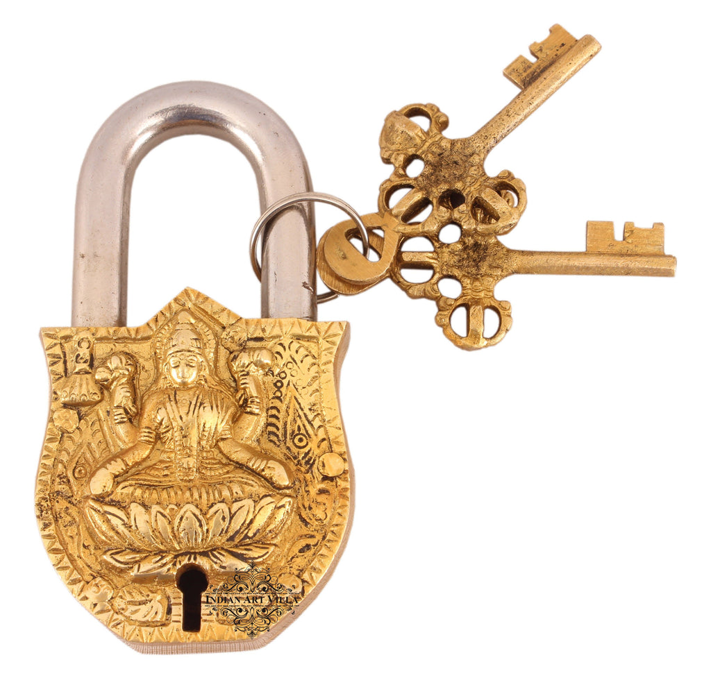 Handmade Old Vintage Style Antique Godess Laxmi Ji Design Brass Security Lock with 2 Keys