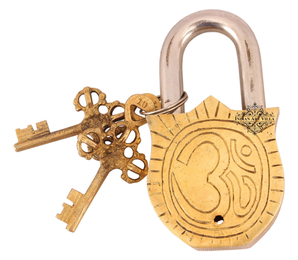 Handmade Old Vintage Style Antique Godess Laxmi Ji Design Brass Security Lock with 2 Keys Designer Locks CC-1