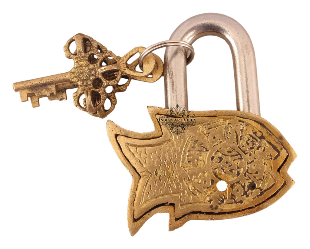Handmade Old Vintage Style Antique Small Fish Shape Brass Security Lock with 2 Keys Designer Locks CC-1