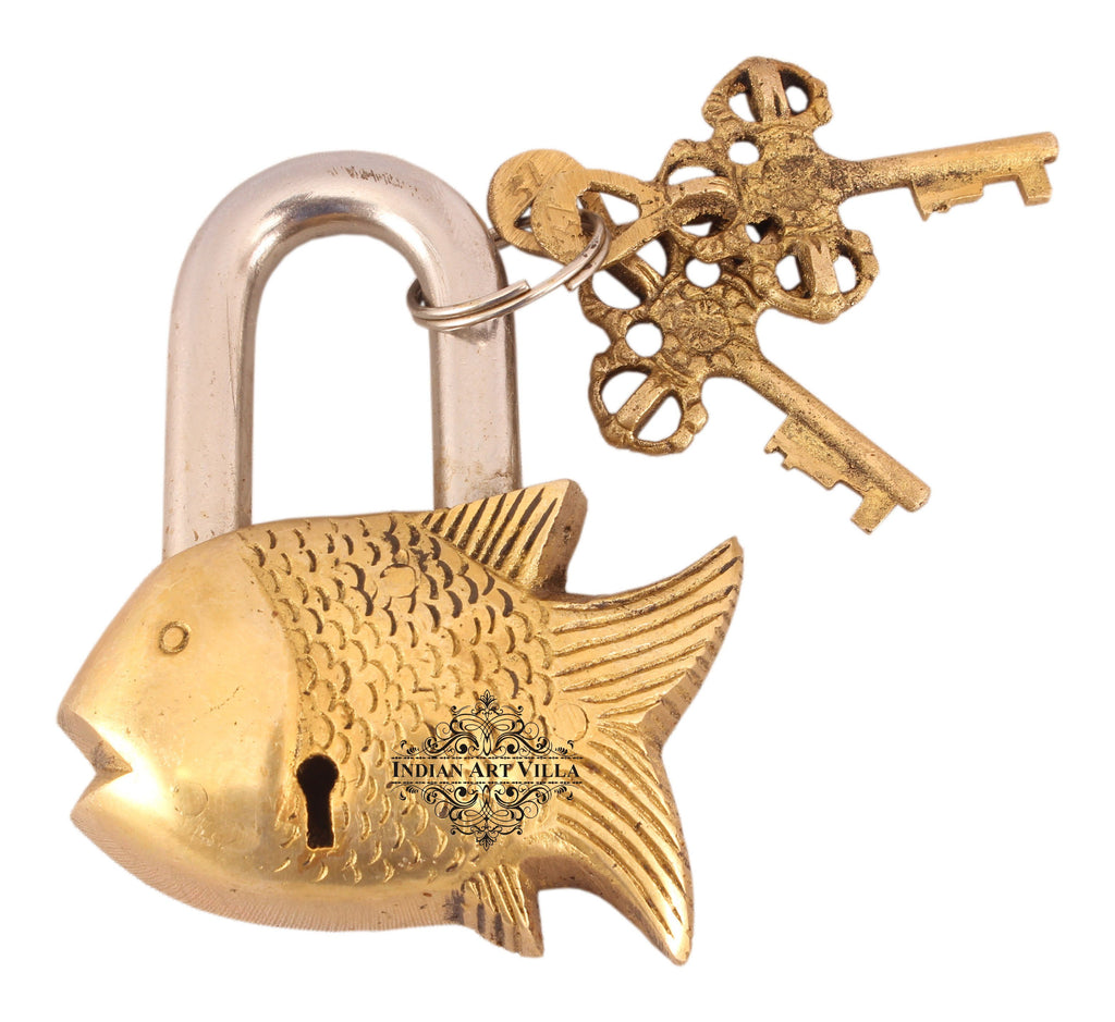 Handmade Old Vintage Style Antique Small Fish Shape Brass Security Lock with 2 Keys