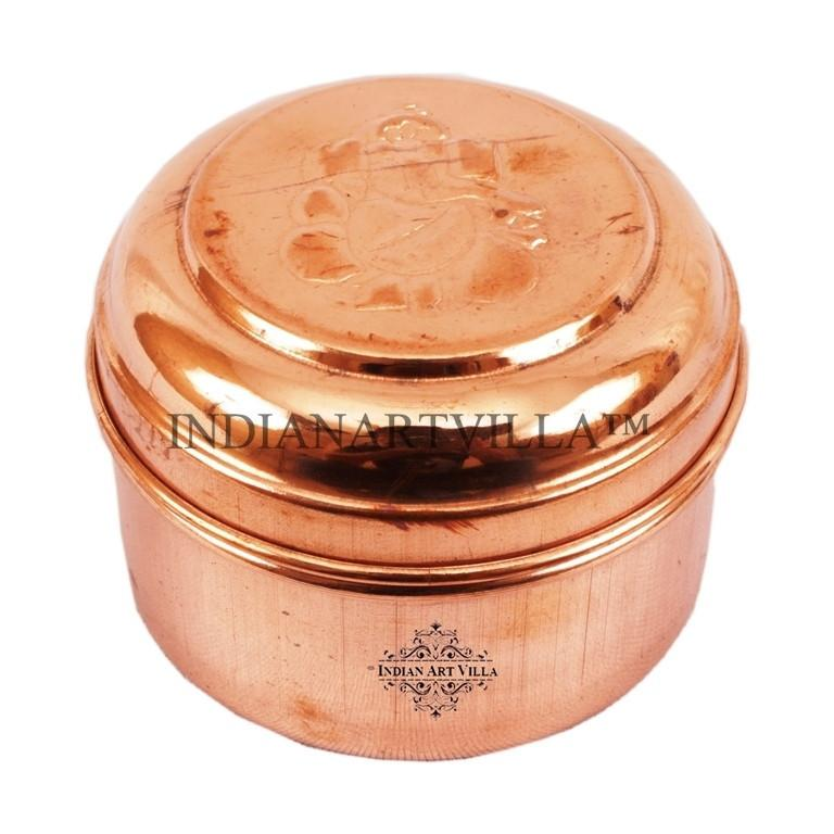 Handmade Pure Copper 4 Oz Ganpati Design Worship Box