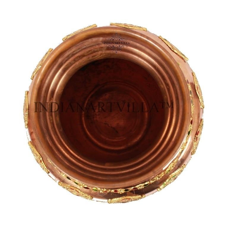 Handmade Pure Copper 50 Oz Designer Pooja Kalash Decorative Kalash Indian Art Villa