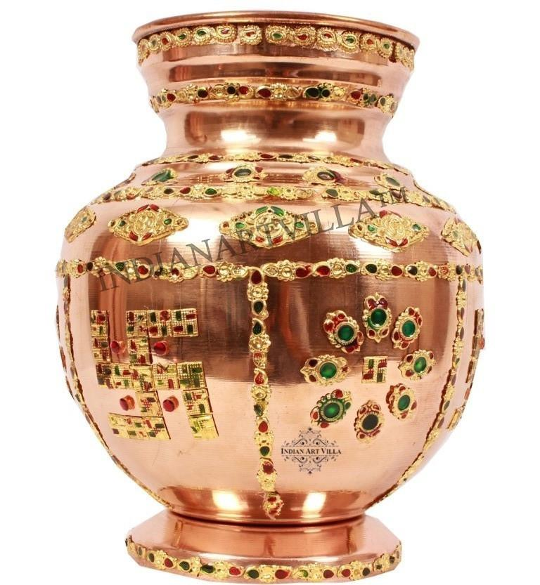 Handmade Pure Copper 50 Oz Designer Pooja Kalash