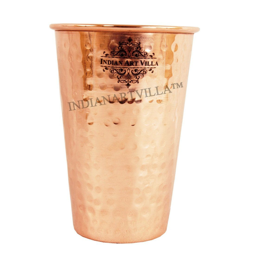 Handmade Pure Copper Glass Cup 10 Oz Copper Tumblers Indian Art Villa
