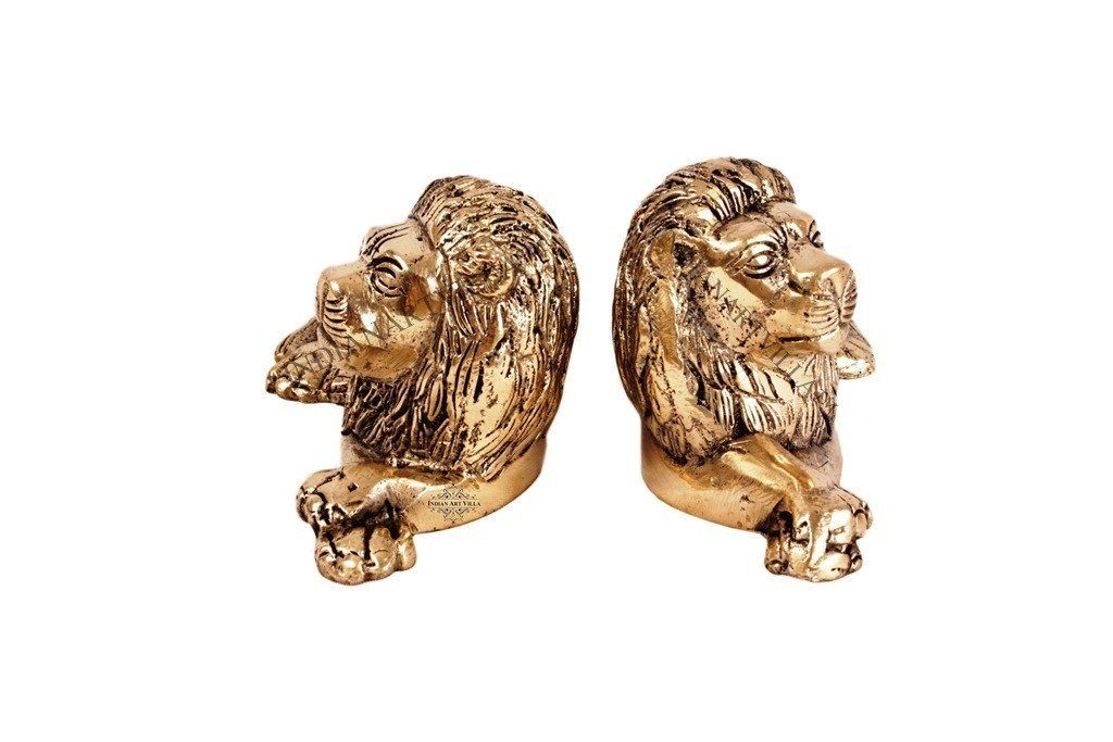 Handmade Rarest Pair of Lion Brass Metal Statue