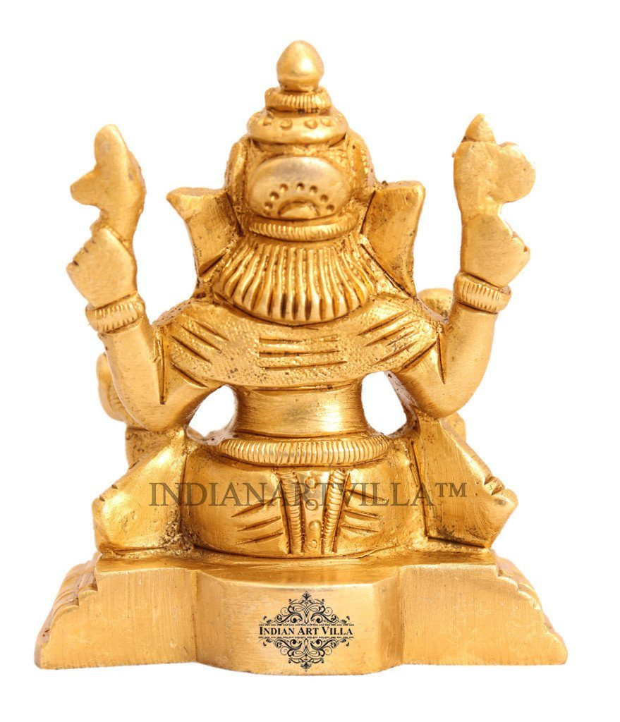 Handmade Sculpted Brass Hindu God Ganesh Ji with Chowki Figurines Indian Art Villa
