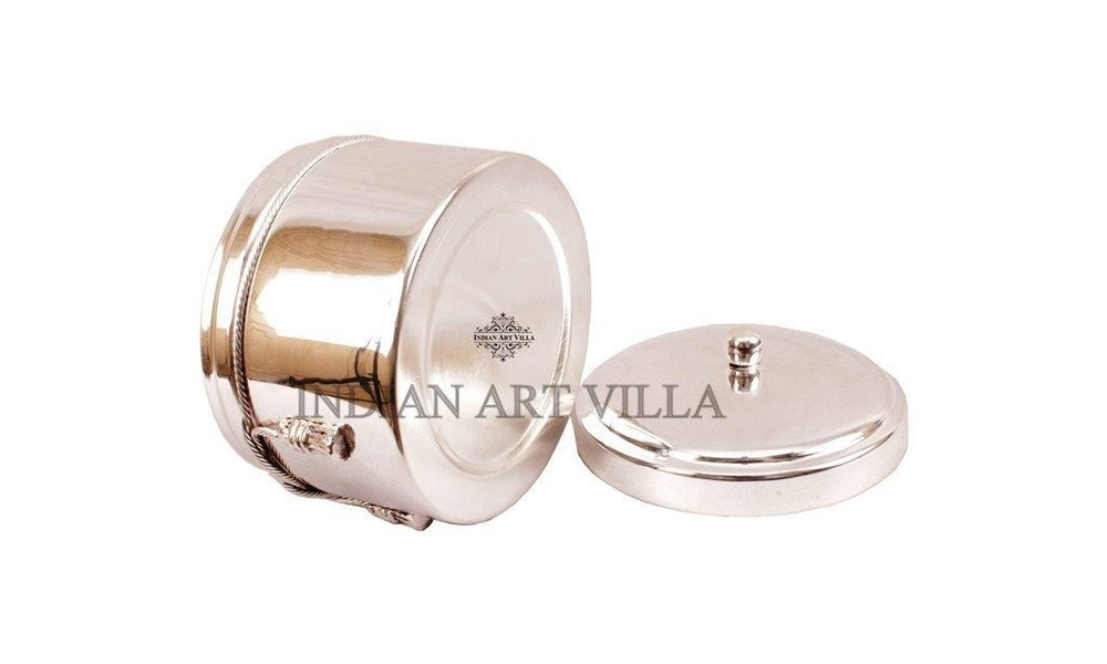 Handmade Silver Plated Box for Gifting Dry fruits Silver Plated Decorative Boxes Indian Art Villa