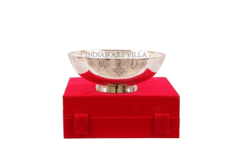 Handmade Silver Plated Designer Big Round Bowl Gift Packing Box Silver Plated Bowls Indian Art Villa