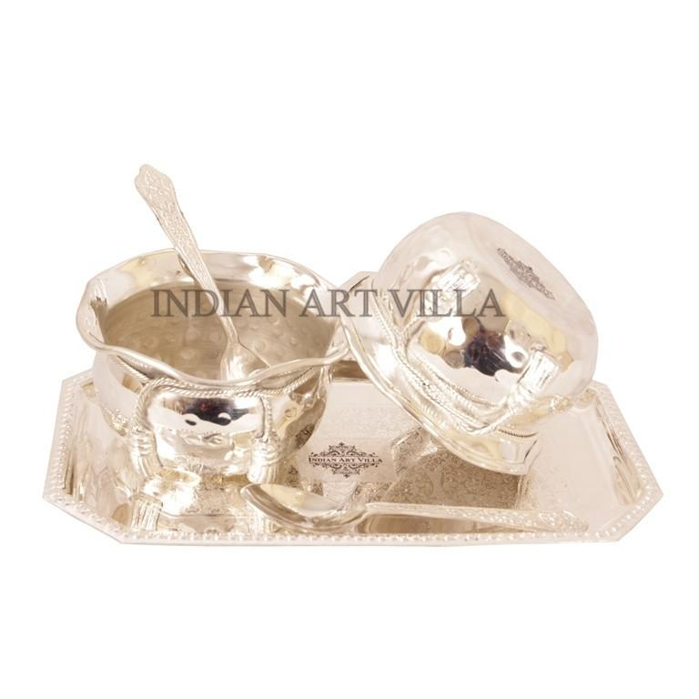 Handmade Silver Plated Set of 2 Designer Bowl 2 Spoon 1 Tray Silver Plated Combo Sets Indian Art Villa