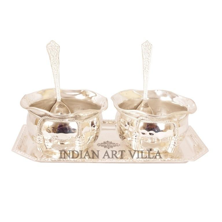 Handmade Silver Plated Set of 2 Designer Bowl 2 Spoon 1 Tray