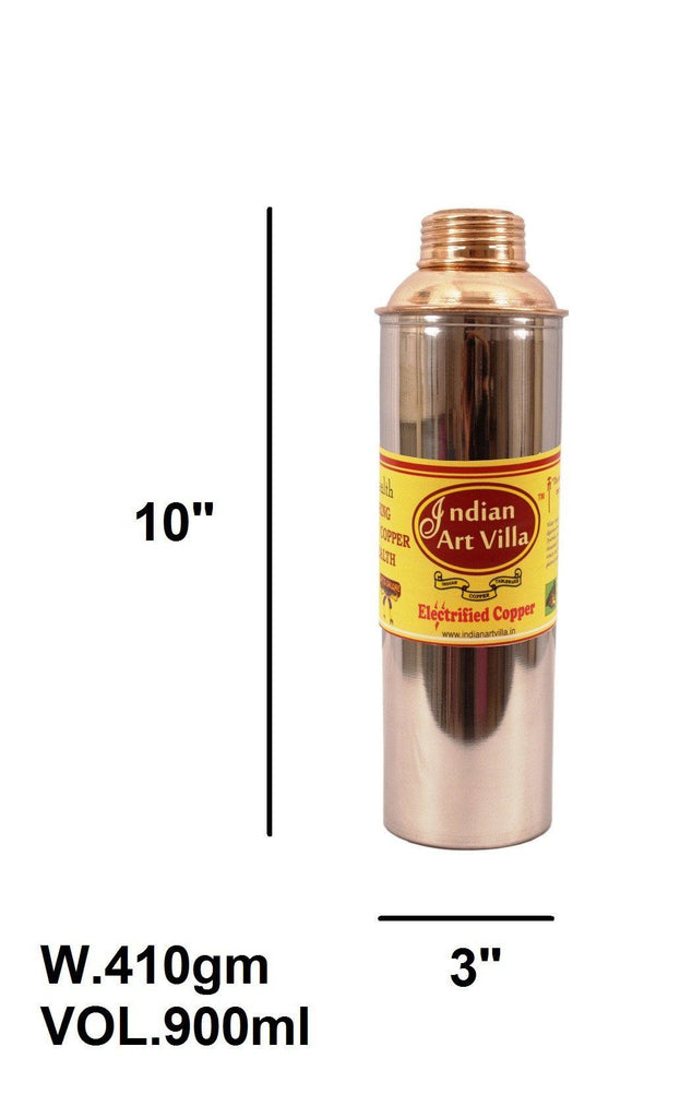 Handmade Steel Copper Bisleri Design Water Bottle 30 Oz Bottles Indian Art Villa