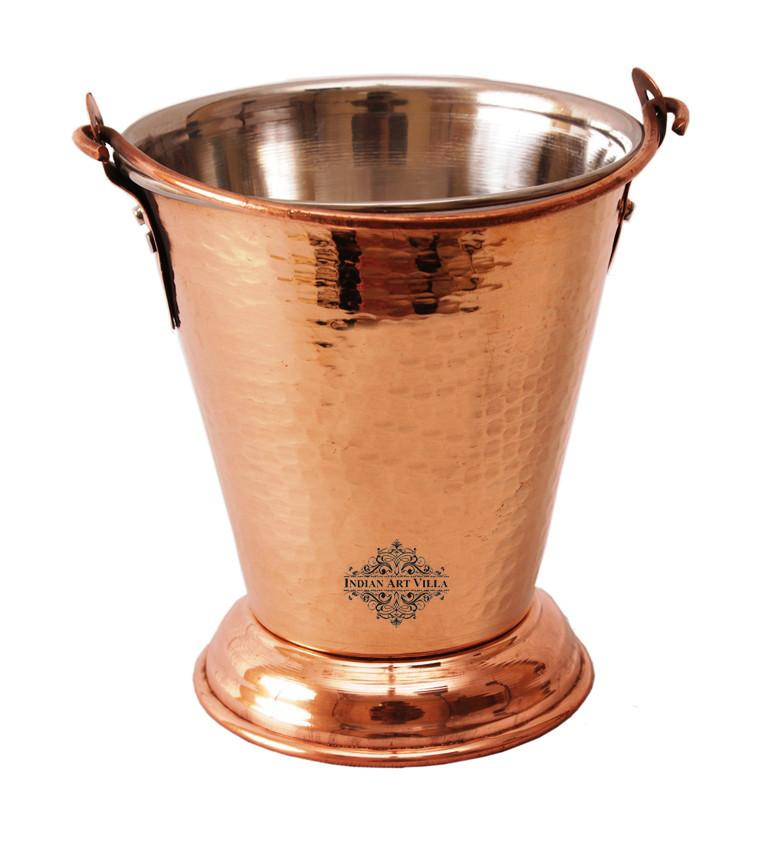 Handmade Steel Copper Bucket Buckets Indian Art Villa 10 Oz