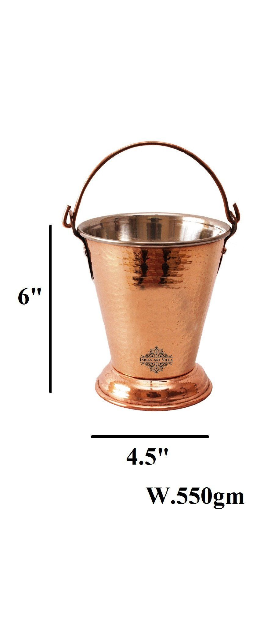Handmade Steel Copper Bucket Buckets Indian Art Villa