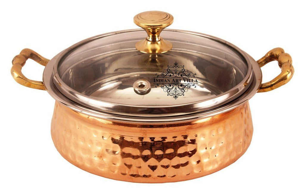 Handmade Steel Copper Casserole With Glass Lid 74 Oz