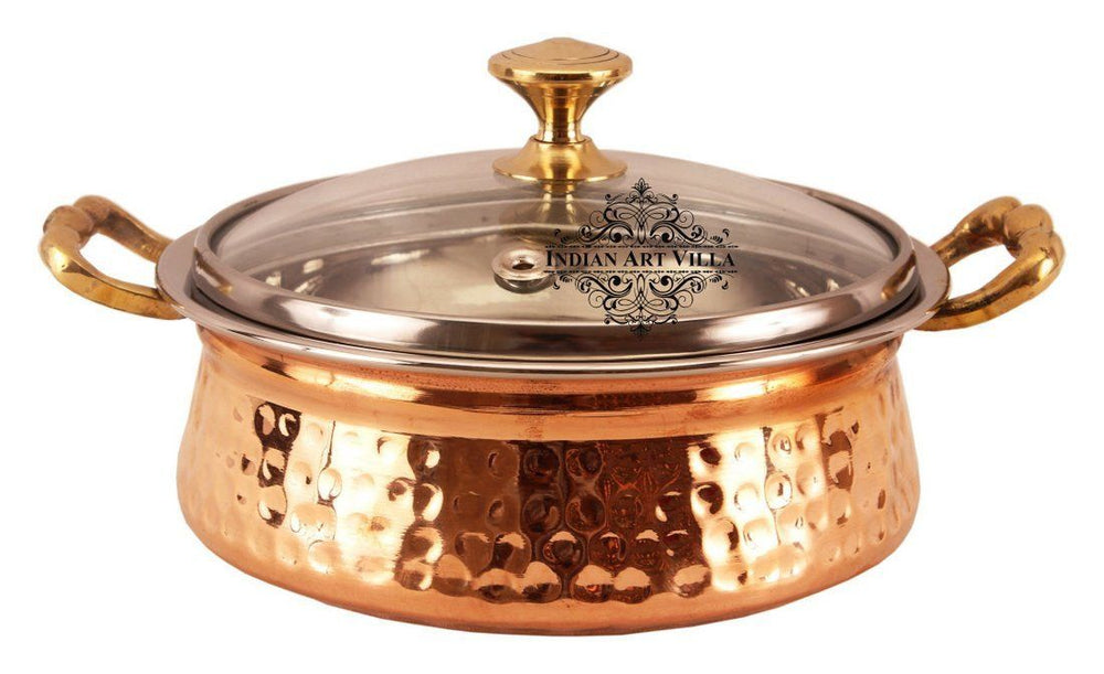 Handmade Steel Copper Casserole With Glass Lid 74 Oz Casseroles Indian Art Villa