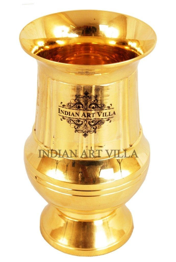 Handmade Vertical Lining Design Brass Glass Cup 6 Oz