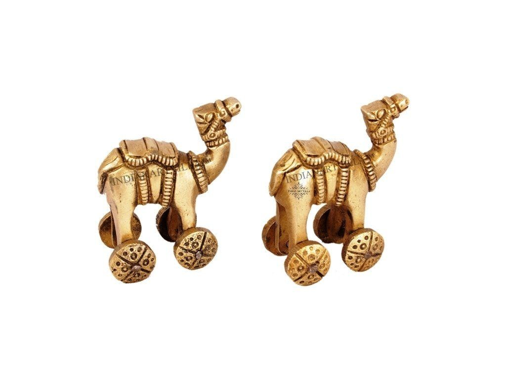 Handmade Vintage Pair of Brass Rajasthan Camel On Wheels Home Accent Indian Art Villa