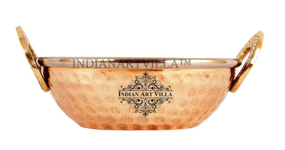 High Quality Steel Copper Serving Kadhai Kadai Indian Art Villa 11 Oz